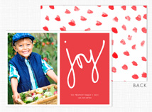 """joy"" on Red Flat Photo Holiday Cards"